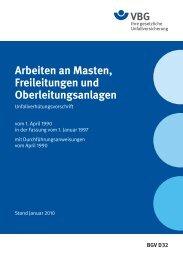 Arbeiten an Masten, Freileitungen und Oberleitungsanlagen - VBG