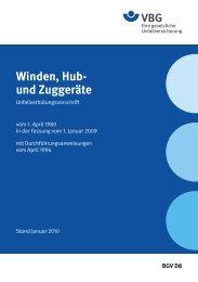Winden, Hub- und Zuggeräte - VBG