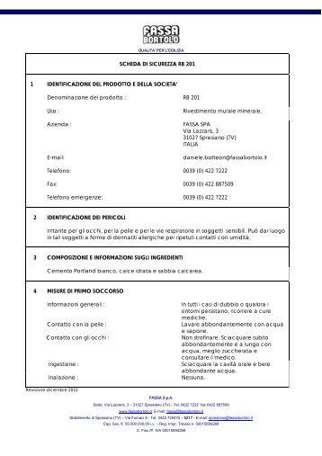 SCHEDA DI SICUREZZA RB 201 1 ... - Casabiocasamia