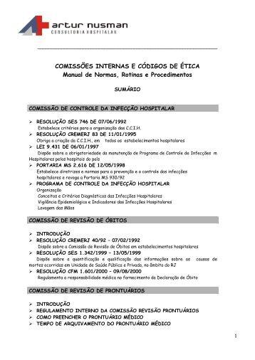 COMISSÕES INTERNAS E CÓDIGOS DE ÉTICA Manual de Normas ...