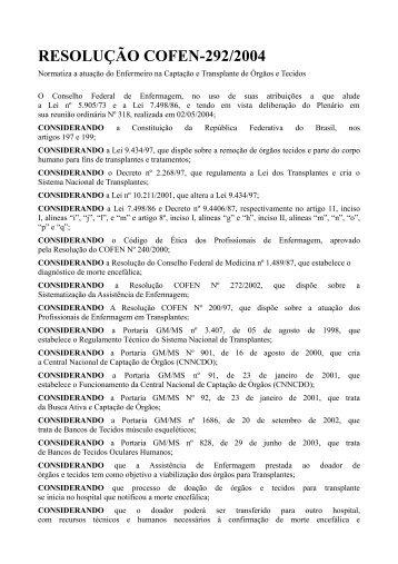 RESOLUÇÃO COFEN-292/2004