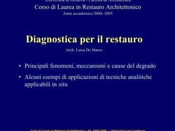 Diagnostica per il restauro - Facoltà di Architettura