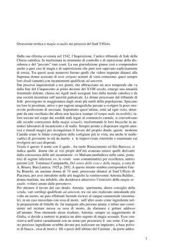 1 Ossessione erotica e magia sexualis nei processi ... - Paolo Portone