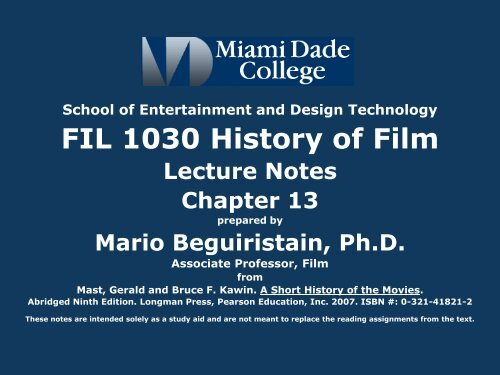 Fil 1030 History Of Film Mdc Faculty Home Pages
