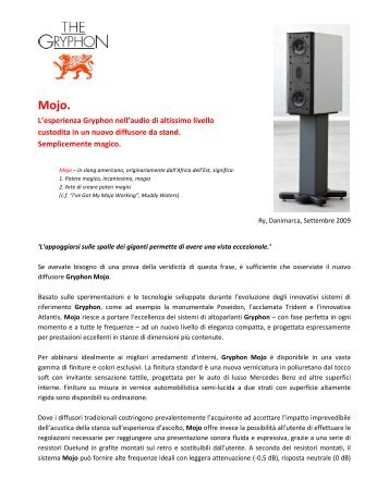 Mojo Press Release (Ottobre 2009) - Audio Reference