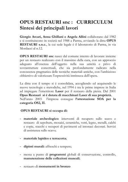 Scarica Il Curriculum Opus Restauri