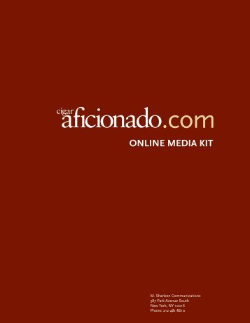 Cigar Aficionado Online Media Kit - M. Shanken Communications, Inc.