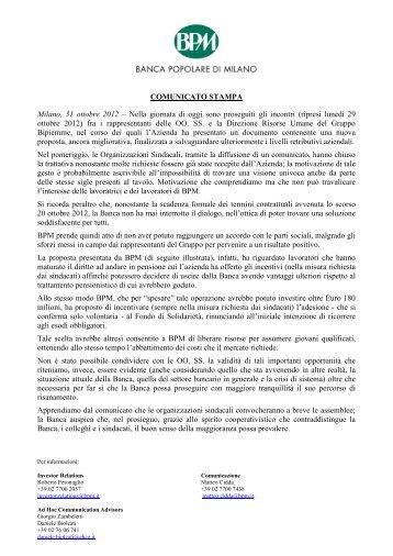 COMUNICATO STAMPA Milano, 31 ottobre 2012 - Banca Popolare ...