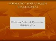 normativa sugli archivi ecclesiastici - Archivio Storico Diocesano