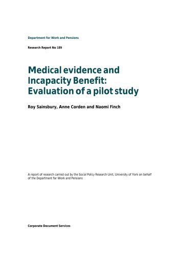 Medical Evidence and Incapacity Benefit - White Rose Research ...