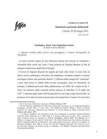 Sociologia e shoah - Società Italiana per lo Studio della Storia ...