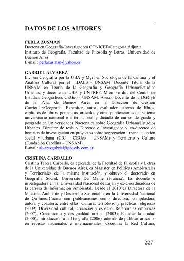 DATOS DE LOS AUTORES - Centro de Investigaciones Geográficas