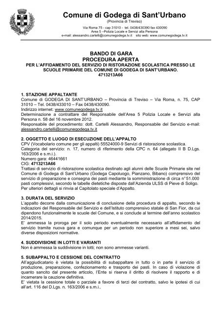Comune Di Godega Di Sant Urbano.Bando Gara Mensa Scolastica Comune Di Godega Di Sant Urbano