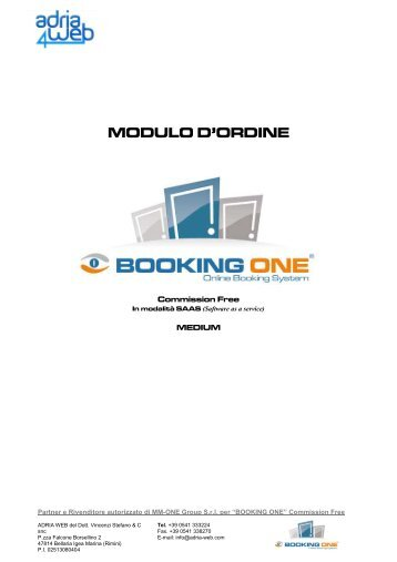 booking one - BackOffice Adria Web