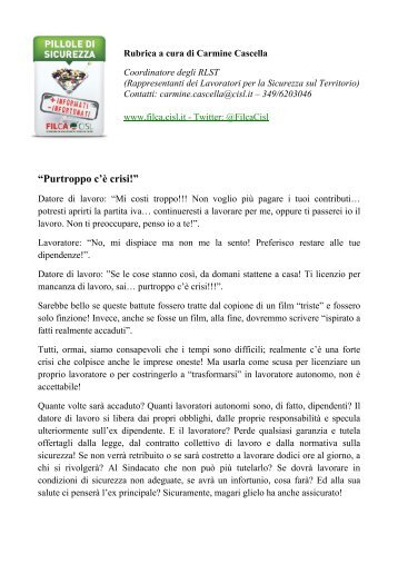 PURTROPPO C'E' CRISI! - Filca-CISL