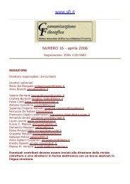 Numero 16 - aprile 2006 - Società Filosofica Italiana