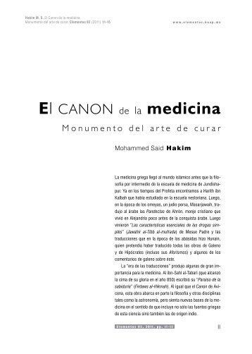 El Canon de la medicina. Monumento del arte de curar