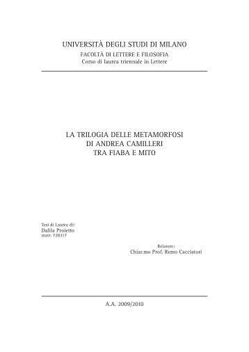 università degli studi di milano la trilogia delle ... - Vigata.org