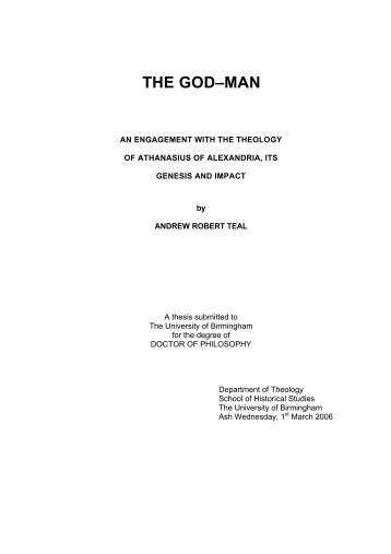 THE GOD–MAN - eTheses Repository - University of Birmingham