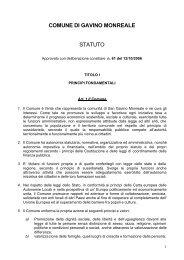 COMUNE DI GAVINO MONREALE STATUTO - Comuni e città