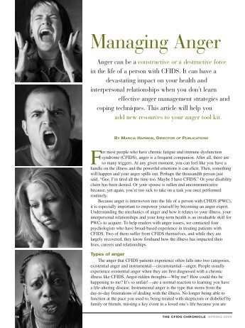 Managing Anger - The CFIDS Association of America