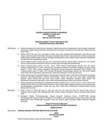 undang-undang republik indonesia nomor 22 tahun 2001 tentang ...