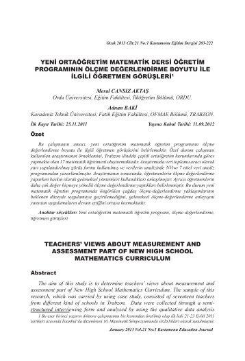 yeni ortaöğretim matematik dersi öğretim programının ölçme ...