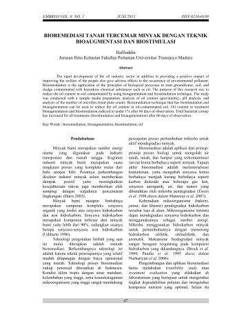 bioremediasi tanah tercemar minyak dengan teknik bioaugmentasi ...