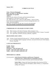 FMontagnini CV - Yale School of Forestry & Environmental Studies ...