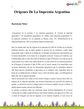 Orígenes De La Imprenta Argentina