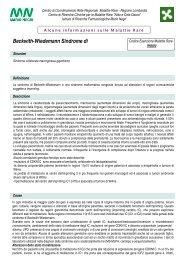 beckwith wiedemann sindrome di - Centro di Coordinamento per le ...