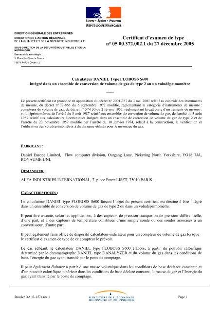 Dgcis 002 d'examen 27 372 n° 00 1 de 05 Certificat type du rBCexoQdW