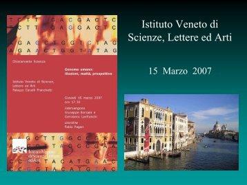 Presentazione - Istituto Veneto di Scienze, Lettere ed Arti
