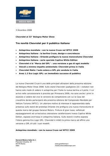 Tre novità Chevrolet per il pubblico italiano - IFAS Gruppo