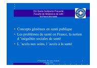 Les problèmes de santé en France, la notion - Infectio-lille.com
