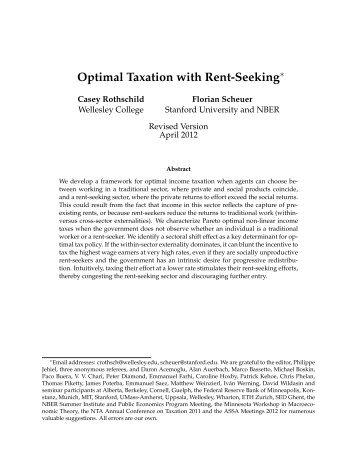 Optimal Taxation with Rent-Seeking