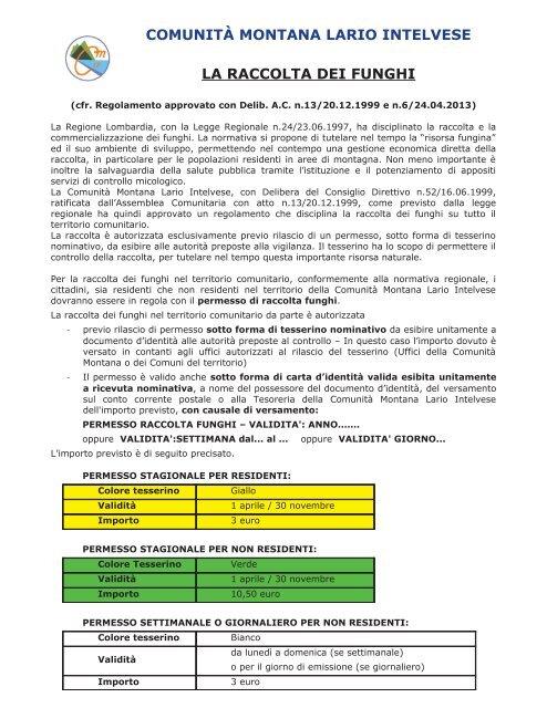 regolamento per la raccolta dei funghi - Comune di Ponna