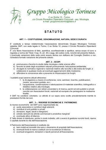 Statuto (PDF) - Gruppo Micologico Torinese