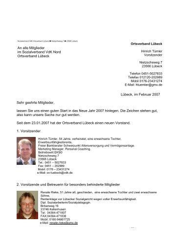 Lübeck, im Februar 2007 An alle Mitglieder im ... - Der VdK