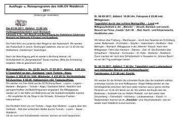 Ausflugs- u. Reiseprogramm des VdK-OV Waldkirch 2011 - Der VdK