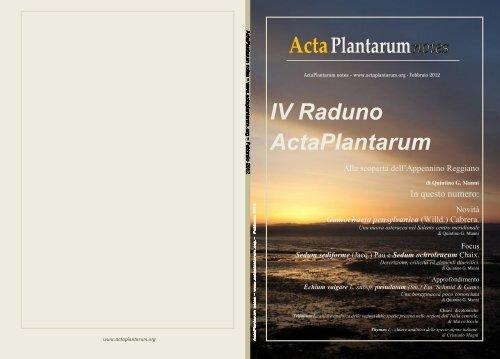 Acta Plantarum Notes