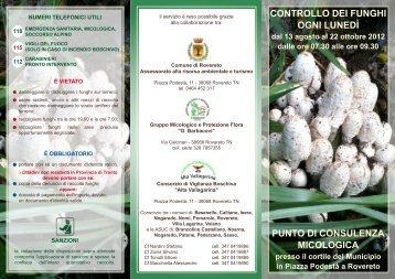 Opuscolo punto consulenza micologica - Comune di Rovereto