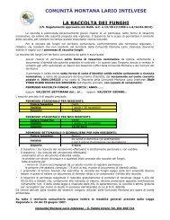 Regolamento per la raccolta dei funghi - Comunità Montana Lario ...