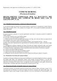 Regolamento Raccolta Funghi Bema - Comune di Bema