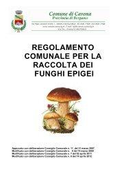 Regolamento per la raccolta dei funghi epigei - Comune di Carona