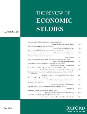 Front Matter (PDF) - Review of Economic Studies