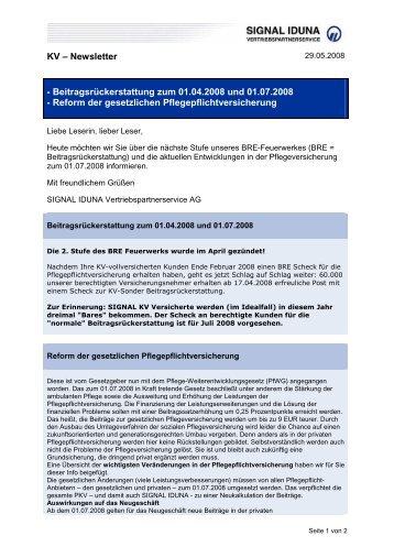 2008-05-28 - KV Newsletter BRE-Reform Pflegepflicht