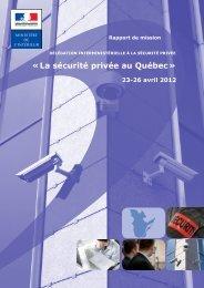 la sécurité privée au Quebec - Ministère de l'Intérieur