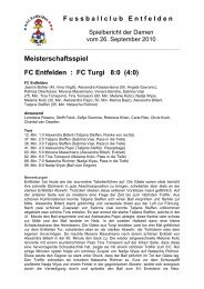 Meisterschaftsspiel FC Entfelden : FC Turgi