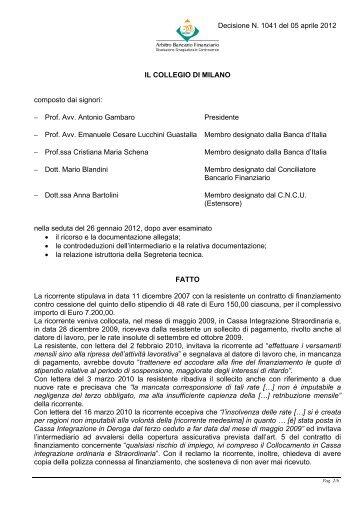 Decisione n. 1041 del 5 aprile 2012 - Arbitro Bancario Finanziario